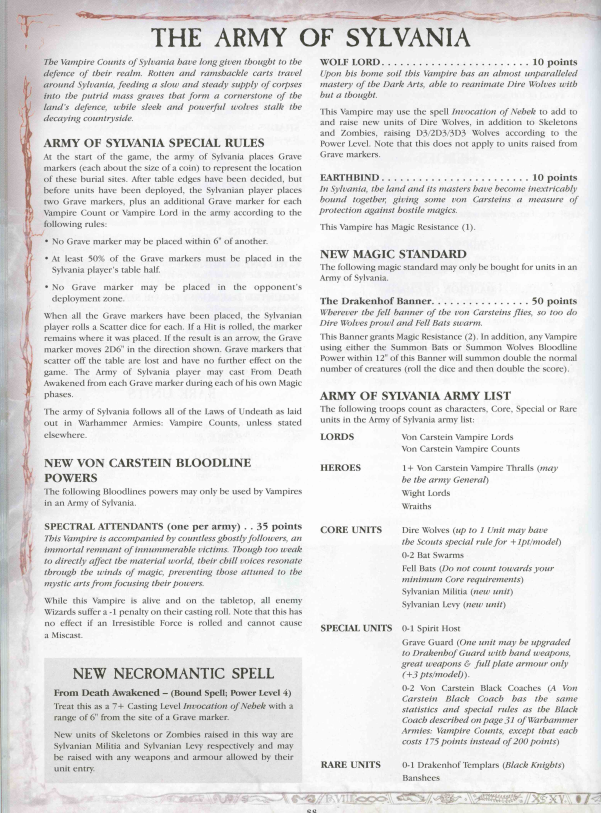 WFB] The Army of Sylvania (WD291/Storm of Chaos, 2004) – Malediction